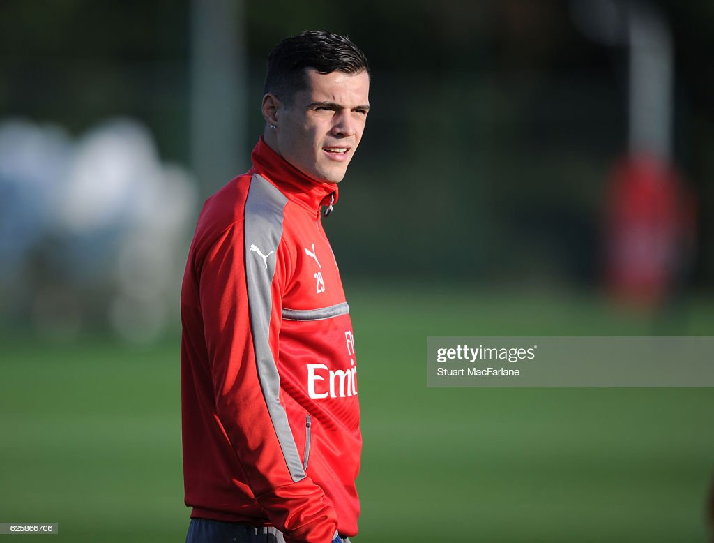 Granit Xhaka of Arsenal during a training session in preparation for the Premier League match against AFC Bournemouth at London Colney on November 26, 2016 in St Albans, England.