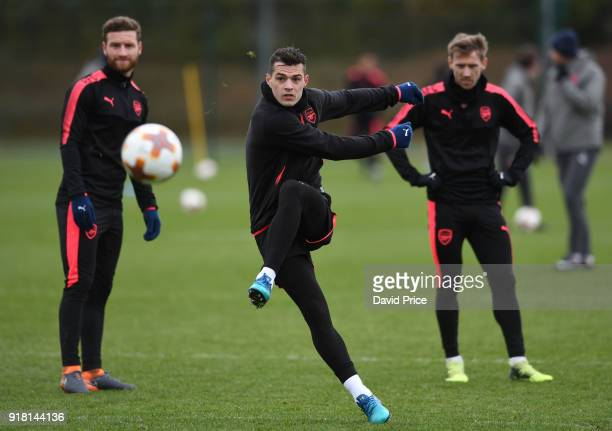 Granit Xhaka of Arsenal during the Arsenal training session at London Colney on February 14 2018 in St Albans England