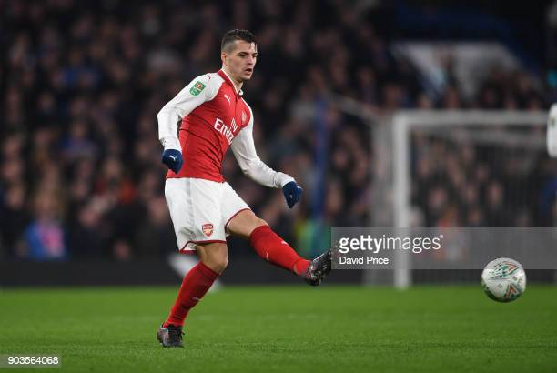 Granit Xhaka of Arsenal during the Carabao Cup Semie Final 1st leg match between Chelsea and Arsenal at Stamford Bridge on January 10 2018 in London...