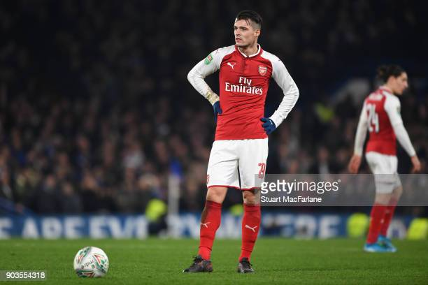 Granit Xhaka of Arsenal during the Carabao Cup SemiFinal First Leg match between Chelsea and Arsenal at Stamford Bridge on January 10 2018 in London...
