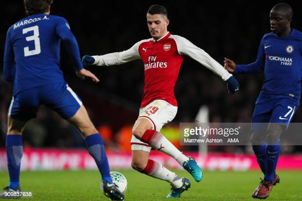 Granit Xhaka of Arsenal during the Carabao Cup SemiFinal Second Leg match between Arsenal and Chelsea at The Emirates Stadium on January 24 2018 in...