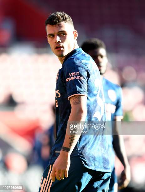 Granit Xhaka of Arsenal during the FA Cup 4th round match between Southampton and Arsenal on January 23, 2021 in Southampton, England. Sporting...