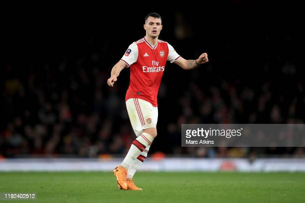 Granit Xhaka of Arsenal during the FA Cup Third Round match between Arsenal and Leeds United at Emirates Stadium on January 6 2020 in London England