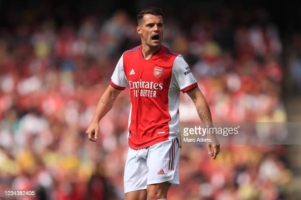 Granit Xhaka of Arsenal during the Pre Season Friendly between Arsenal and Chelsea at Emirates Stadium on August 1, 2021 in London, England.