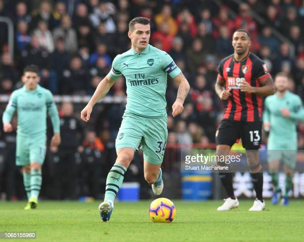 Granit Xhaka of Arsenal during the Premier League match between AFC Bournemouth and Arsenal FC at Vitality Stadium on November 25 2018 in Bournemouth...