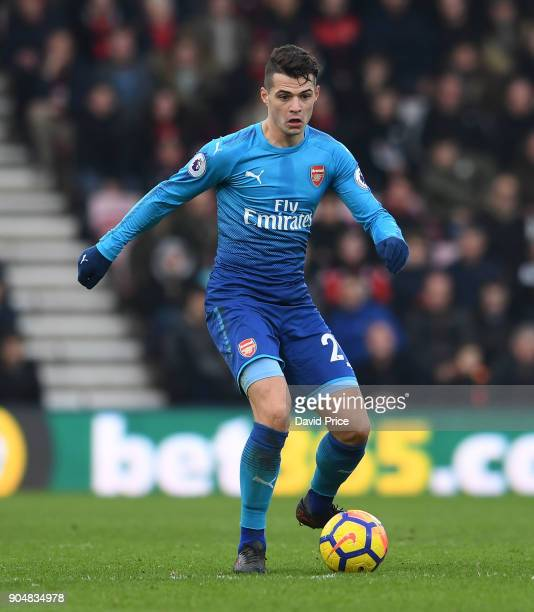 Granit Xhaka of Arsenal during the Premier League match between AFC Bournemouth and Arsenal at Vitality Stadium on January 14 2018 in Bournemouth...