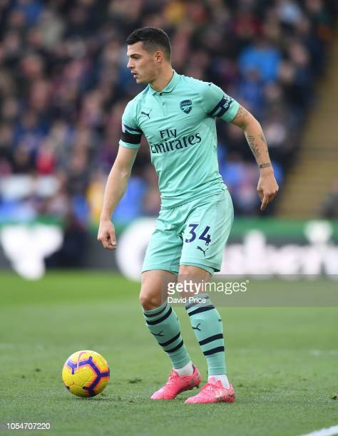 Granit Xhaka of Arsenal during the Premier League match between Crystal Palace and Arsenal FC at Selhurst Park on October 28 2018 in London United...