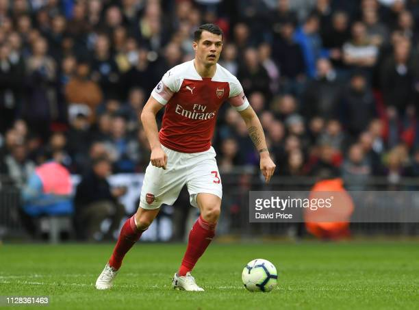 Granit Xhaka of Arsenal during the Premier League match between Tottenham Hotspur and Arsenal FC at Wembley Stadium on March 2 2019 in London United...