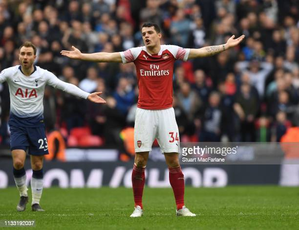 Granit Xhaka of Arsenal during the Premier League match between Tottenham Hotspur and Arsenal FC at Wembley Stadium on March 02 2019 in London United...