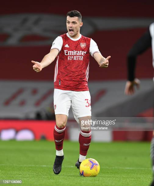 Granit Xhaka of Arsenal during the Premier League match between Arsenal and Newcastle United at Emirates Stadium on January 18, 2021 in London,...