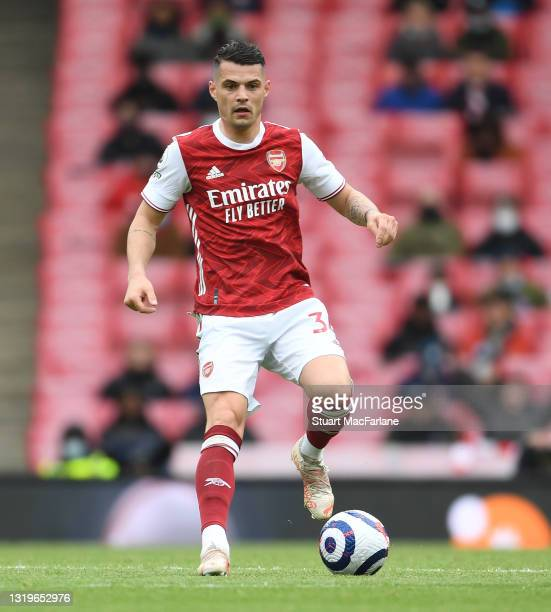 Granit Xhaka of Arsenal during the Premier League match between Arsenal and Brighton & Hove Albion at Emirates Stadium on May 23, 2021 in London,...
