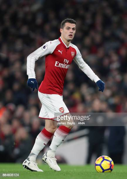 Granit Xhaka of Arsenal during the Premier League match between Arsenal and Manchester United at Emirates Stadium on December 2 2017 in London England