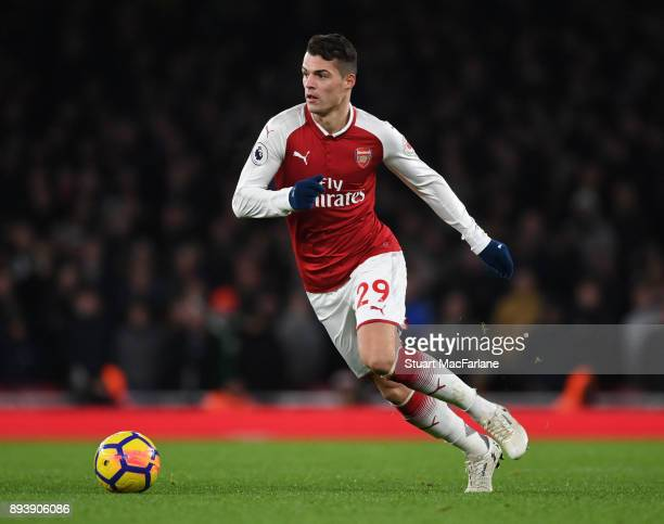 Granit Xhaka of Arsenal during the Premier League match between Arsenal and Newcastle United at Emirates Stadium on December 16 2017 in London England