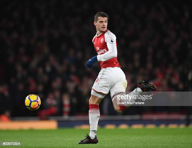 Granit Xhaka of Arsenal during the Premier League match between Arsenal and Chelsea at Emirates Stadium on January 3 2018 in London England