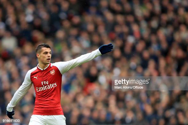 Granit Xhaka of Arsenal during the Premier League match between Tottenham Hotspur and Arsenal at Wembley Stadium on February 10 2018 in London England