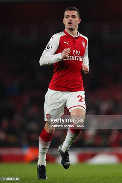 Granit Xhaka of Arsenal during the Premier League match between Arsenal and Manchester City at Emirates Stadium on March 1 2018 in London England