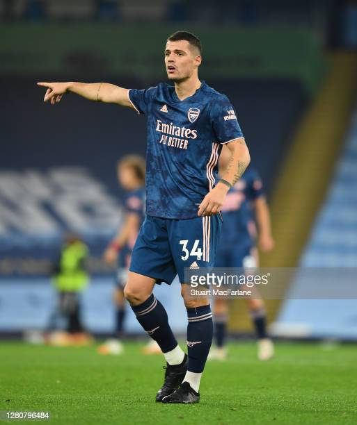 Granit Xhaka of Arsenal during the Premier League match between Manchester City and Arsenal at Etihad Stadium on October 17 2020 in Manchester...
