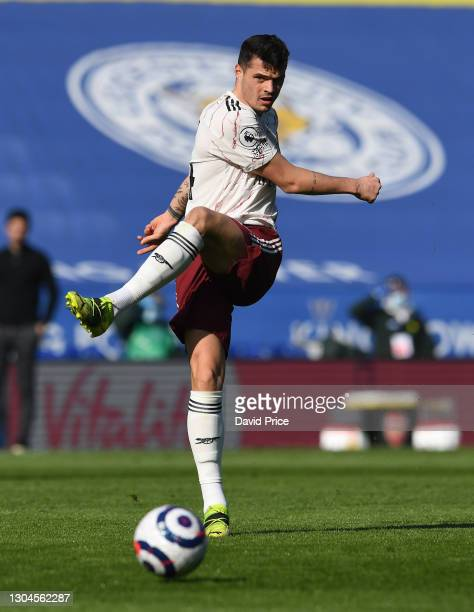 Granit Xhaka of Arsenal during the Premier League match between Leicester City and Arsenal at The King Power Stadium on February 28, 2021 in...