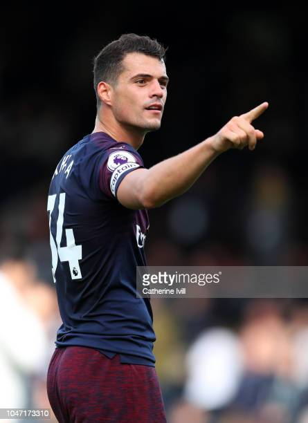 Granit Xhaka of Arsenal during the Premier League match between Fulham FC and Arsenal FC at Craven Cottage on October 7 2018 in London United Kingdom