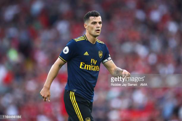 Granit Xhaka of Arsenal during the Premier League match between Liverpool FC and Arsenal FC at Anfield on August 24 2019 in Liverpool United Kingdom