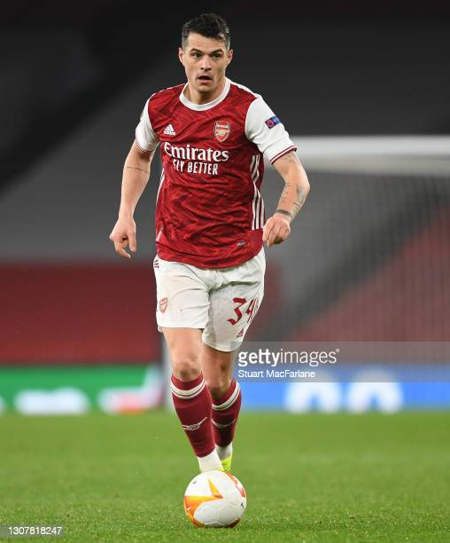 Granit Xhaka of Arsenal during the UEFA Europa League Round of 16 Second Leg match between Arsenal and Olympiacos at Emirates Stadium on March 18,...