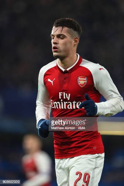 Granit Xhaka of Arsenal in action during the Carabao Cup SemiFinal first leg match between Chelsea and Arsenal at Stamford Bridge on January 10 2018...