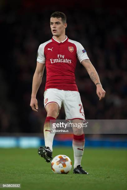 Granit Xhaka of Arsenal in action during the UEFA Europa League Quarter final 1st Leg match between Arsenal and CSKA Moscow at the Emirates Stadium...
