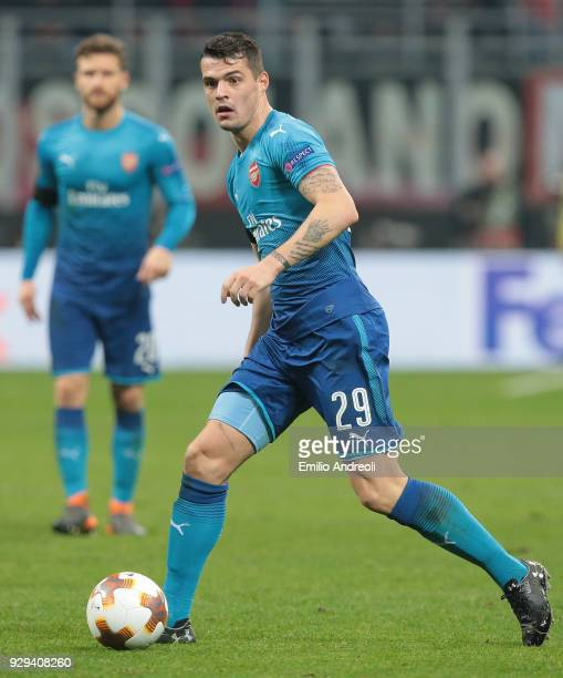 Granit Xhaka of Arsenal in action during UEFA Europa League Round of 16 match between AC Milan and Arsenal at Stadio Giuseppe Meazza on March 8 2018...