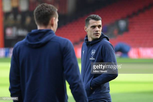 Granit Xhaka of Arsenal inspects the pitch prior to the Premier League match between AFC Bournemouth and Arsenal FC at Vitality Stadium on November...