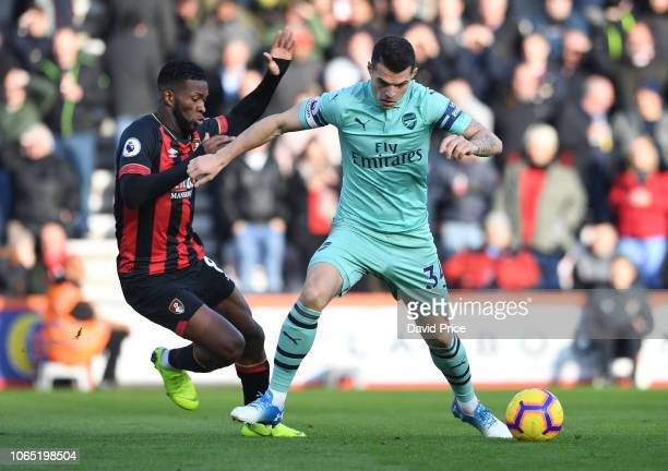 Granit Xhaka of Arsenal is fouled by Jefferson Lerma of Bournemouth during the Premier League match between AFC Bournemouth and Arsenal FC at...
