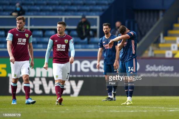 Granit Xhaka of Arsenal looks dejected after making an error leading to a Burnley goal during the Premier League match between Burnley and Arsenal at...