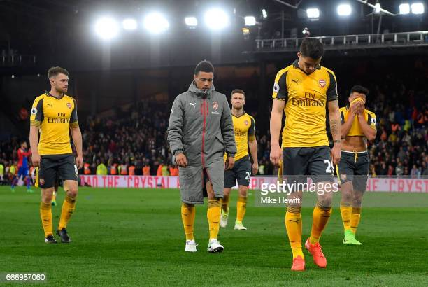 Granit Xhaka of Arsenal looks dejected in defeat with team mates after the Premier League match between Crystal Palace and Arsenal at Selhurst Park...