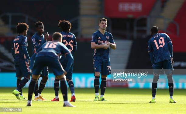 Granit Xhaka of Arsenal looks on as he prepares for the match prior to The Emirates FA Cup Fourth Round match between Southampton FC and Arsenal FC...
