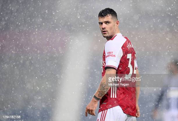 Granit Xhaka of Arsenal looks on during the Premier League match between West Bromwich Albion and Arsenal at The Hawthorns on January 02, 2021 in...