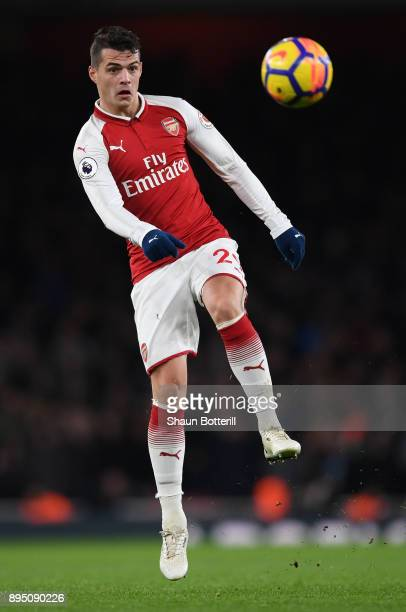 Granit Xhaka of Arsenal passes the ball during the Premier League match between Arsenal and Newcastle United at Emirates Stadium on December 16 2017...