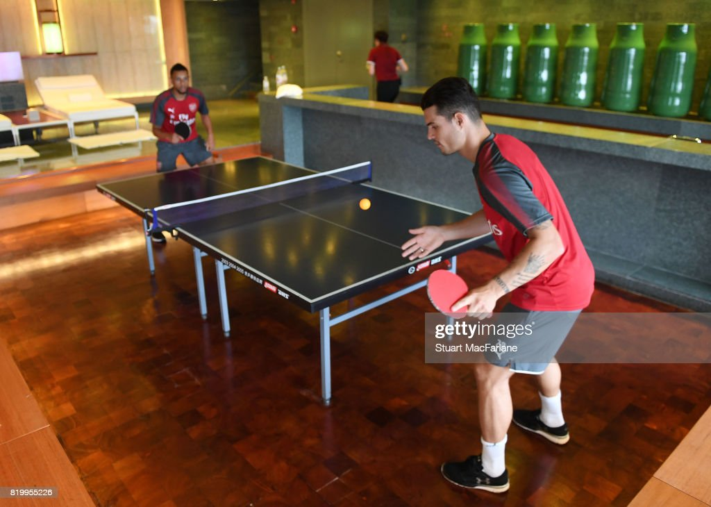 Granit Xhaka of Arsenal plays table tennis in the team hotel on July 21, 2017 in Beijing, China.