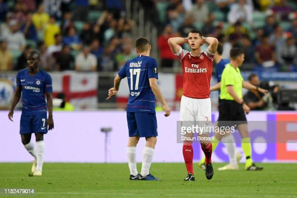 Granit Xhaka of Arsenal reacts during the UEFA Europa League Final between Chelsea and Arsenal at Baku Olimpiya Stadionu on May 29 2019 in Baku...