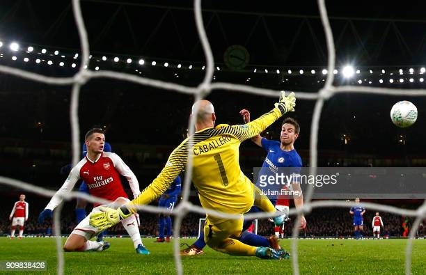 Granit Xhaka of Arsenal scores his sides second goal past Willy Caballero of Chelsea during the Carabao Cup SemiFinal Second Leg at Emirates Stadium...