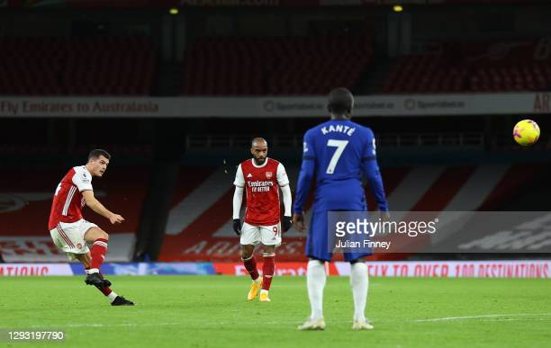 Granit Xhaka of Arsenal scores his team's second goal during the Premier League match between Arsenal and Chelsea at Emirates Stadium on December 26,...