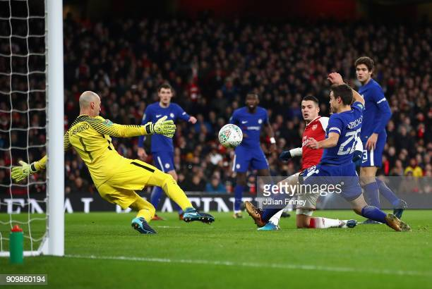 Granit Xhaka of Arsenal scores his teams second goal to make it 21 during the Carabao Cup SemiFinal Second Leg at Emirates Stadium on January 24 2018...