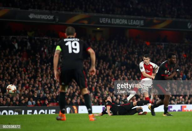 Granit Xhaka of Arsenal scores the second goal during the UEFA Europa League Round of 16 Second Leg match between Arsenal and AC Milan at Emirates...