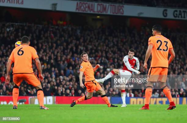 Granit Xhaka of Arsenal scores their second goal during the Premier League match between Arsenal and Liverpool at Emirates Stadium on December 22...