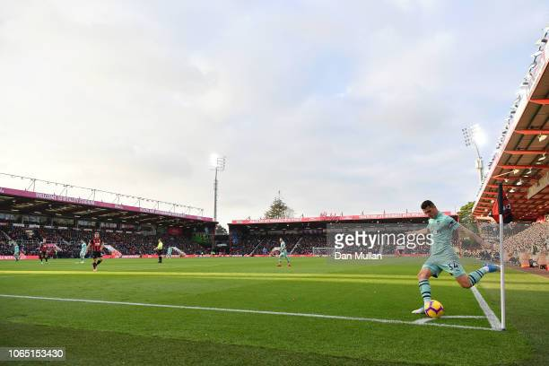 Granit Xhaka of Arsenal takes a corner during the Premier League match between AFC Bournemouth and Arsenal FC at Vitality Stadium on November 25 2018...