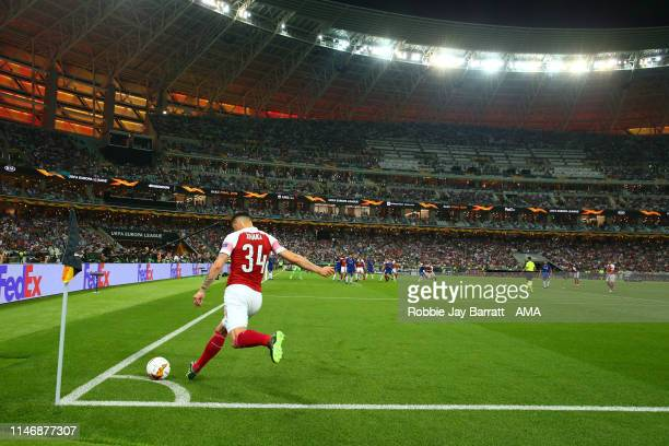 Granit Xhaka of Arsenal takes a corner in the Baku Olimpiya during the UEFA Europa League Final between Chelsea and Arsenal at Baku Olimpiya Stadionu...