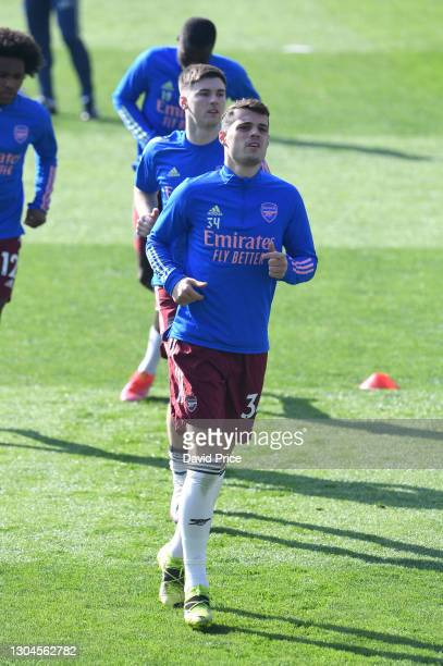 Granit Xhaka of Arsenal warms up before the Premier League match between Leicester City and Arsenal at The King Power Stadium on February 28, 2021 in...