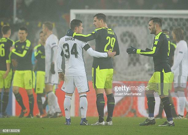 Granit Xhaka of Arsenal with Taulant Xhaka of Basel after the UEFA Champions League match between FC Basel and Arsenal at St JakobPark on December 6...