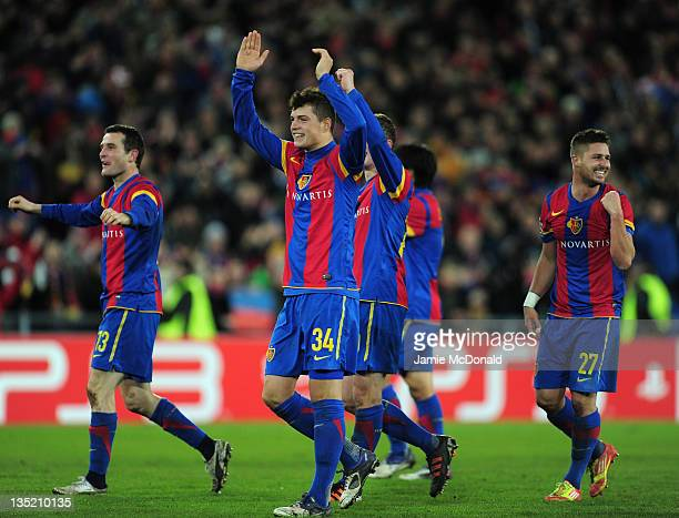 Granit Xhaka of Basel celebrates victory at the final whistle after the UEFA Champions League Group C match between FC Basel 1893 and Manchester...