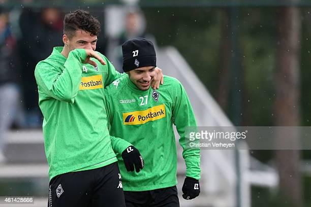 Granit Xhaka of Borussia Moenchengladbach and Julian Korb of Borussia Moenchengladbach during a training session at day five of Borussia...