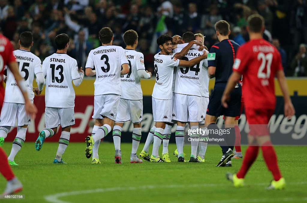 Granit Xhaka of Borussia Moenchengladbach celebrate with his team mates after the second goal during the Bundesliga match between Borussia Moenchengladbach and FC Augsburg at Borussia-Park on September 23, 2015 in Moenchengladbach, Germany