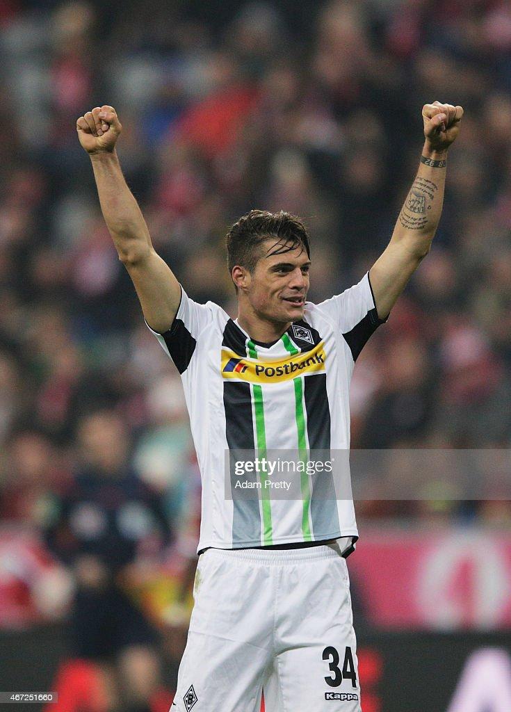 Granit Xhaka of Borussia Moenchengladbach celebrates victory after the Bundesliga match between Bayern Muenchen and Borussia Moenchengladbach at Allianz Arena on March 22, 2015 in Munich, Germany.